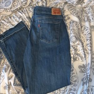 Levi's 505 straight leg with floral decal